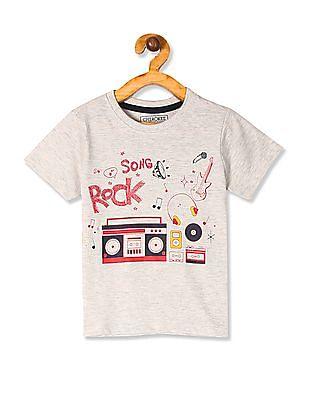 Cherokee Grey Boys Melange Printed T-Shirt