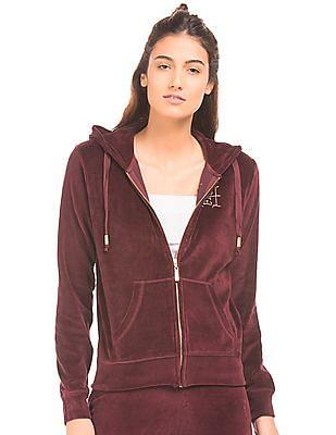 EdHardy Women Hooded Velveteen Sweatshirt