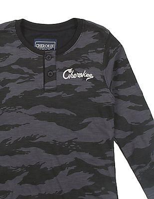 Cherokee Boys Camouflage Printed Henley T-Shirt