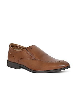 Arrow Brown Brogued Leather Slip On Shoes