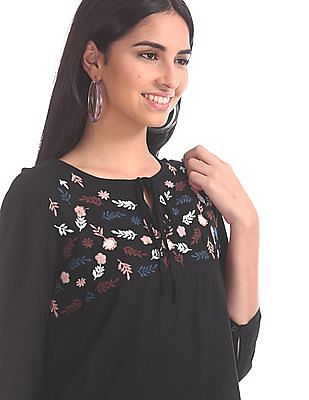 Cherokee Floral Embroidered Tie Neck Top