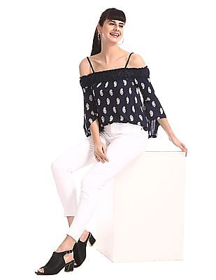 Aeropostale Blue Printed Off-Shoulder Top