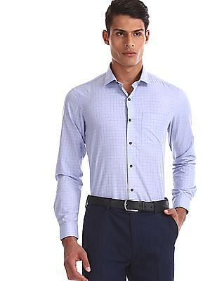 Arrow Newyork Blue Spread Collar Tonal Check Shirt