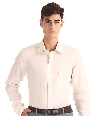 Arrow White French Placket Linen Shirt