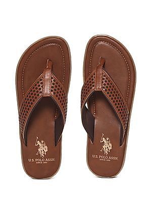 U.S. Polo Assn. Brown Laser Cut V-Strap Sandals