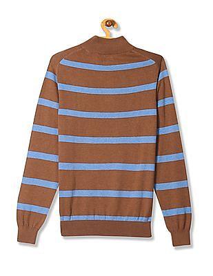 Arrow Sports Striped Zip Up Sweater