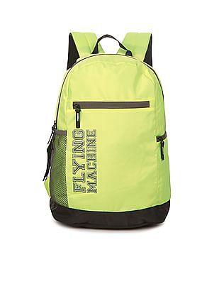 Flying Machine Brand Print Contrast Trim Backpack