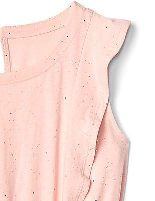 GAP Girls Pink Ruffle Keyhole Dress