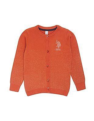 U.S. Polo Assn. Kids Girls Shimmery Embellished Cardigan
