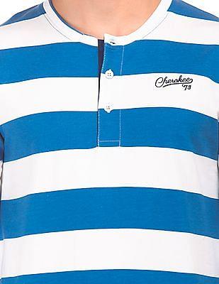 Cherokee Henley Neck Striped Sweatshirt