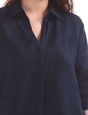 GAP Women Blue Popover Boyfriend Tunic Shirt In Linen