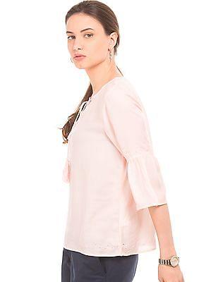 Arrow Woman Solid Herringbone Weave Top
