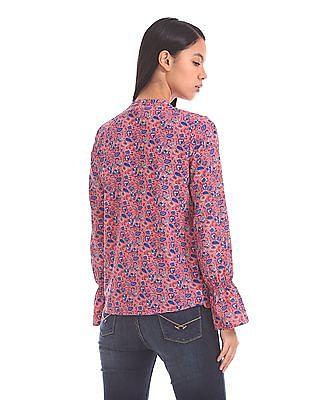 U.S. Polo Assn. Women Bell Sleeve Floral Print Top