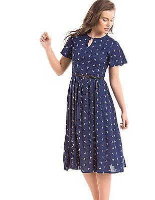 Elle Bird Print Belted Tea Dress