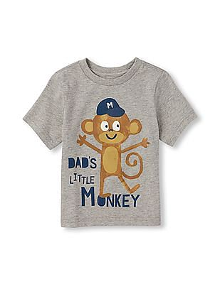 The Children's Place Toddler Boy Short Sleeve 'Dad's Little Monkey' Graphic Tee