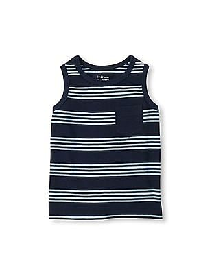 The Children's Place Toddler Boy Sleeveless Contrast Pocket Striped Tank Top