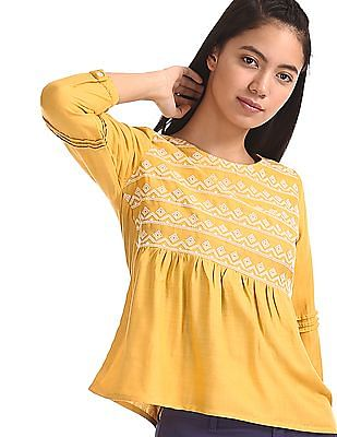 Bronz Yellow Embroidered Flared Hem Top