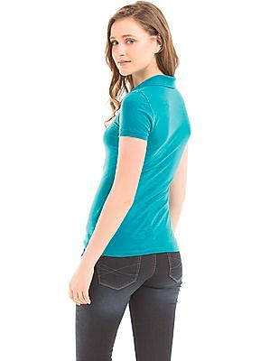 Aeropostale Aqua Cotton Pique Polo Shirt