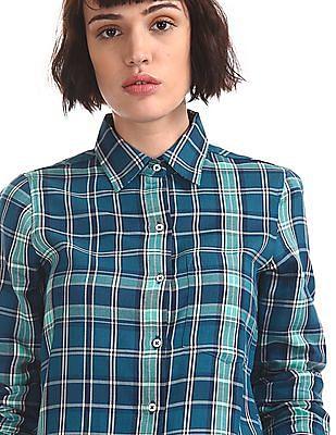 Aeropostale Blue Barrel Cuff Check Shirt