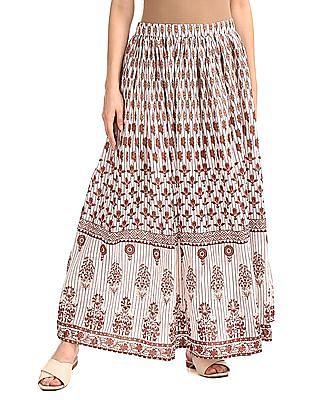 Bronz White Cotton Printed Maxi Skirt
