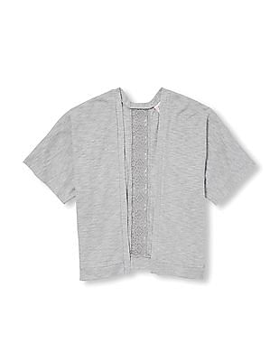 The Children's Place Girls Short Sleeve Lace-Back Lightweight Sweater Knit Open Cardigan