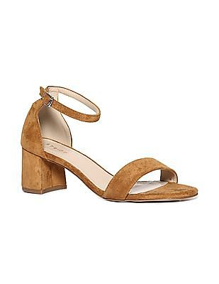 Stride Brown Block Heel Ankle Strap Sandals