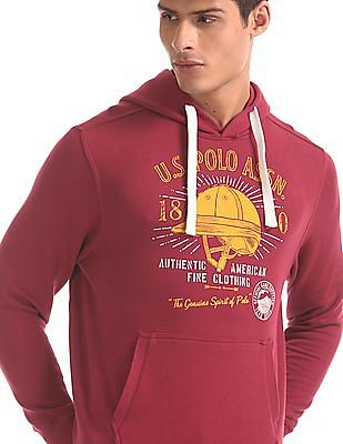 U.S. Polo Assn. Red Brand Print Drawstring Hood Sweatshirt