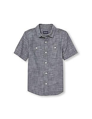 The Children's Place Boys Short Sleeve Slub Chambray Button Down Shirt