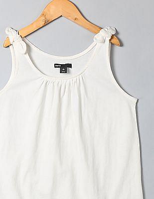 GAP Girls White Bow Shirred Tank