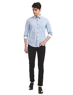 U.S. Polo Assn. Denim Co. Blue All Over Print Slim Fit Shirt
