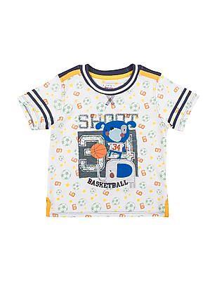 Donuts Boys Football Print Appliqued T-Shirt