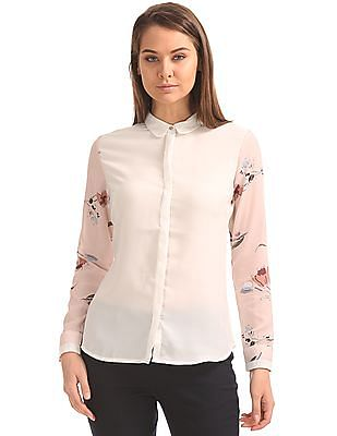 Arrow Woman Regular Fit Printed Sleeve Shirt