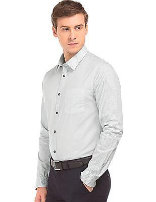 Arvind Combination Print Super Slim Fit Shirt