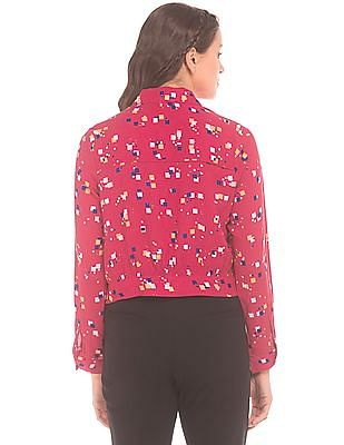 SUGR Printed Concealed Placket Cropped Shirt