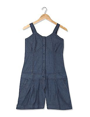 Flying Machine Solid Cotton Dungarees