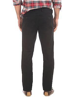 GAP Men Black Flat Front Skinny Fit Trousers
