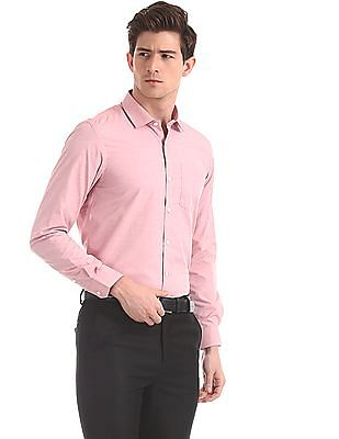 Excalibur Red Semi Cutaway Collar Solid Shirt