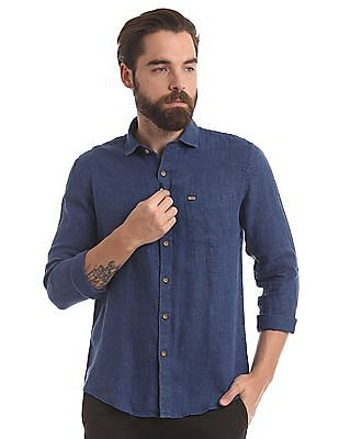 True Blue Slim Fit Linen Shirt