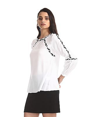Cherokee White Band Neck Embroidered Top