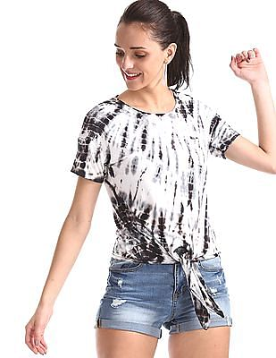 Aeropostale Black Drop Shoulder Tie-And-Dye Top