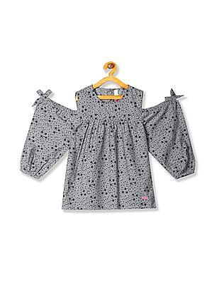 U.S. Polo Assn. Kids Girls Star Print Cold Shoulder Top