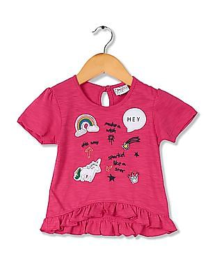 Donuts Girls Ruffle Hem Embroidered Top
