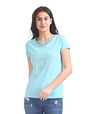 U.S. Polo Assn. Women V-Neck Crossover Strap T-Shirt