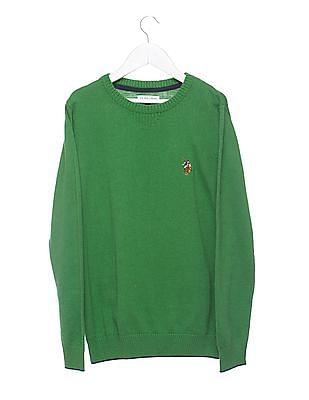 U.S. Polo Assn. Kids Boys Patterned Round Neck Sweater