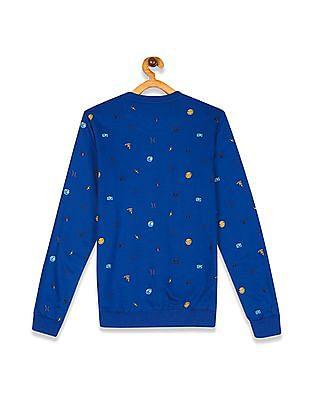 FM Boys Blue Boys Crew Neck Printed Sweatshirt