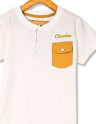 Cherokee Boys Heathered Henley T-Shirt