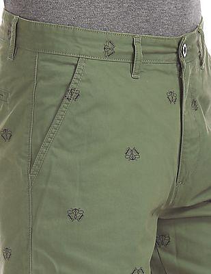 Arrow Sports Contrast Print Twill Shorts