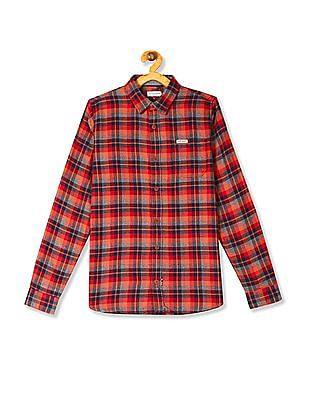 U.S. Polo Assn. Kids Orange Boys Check Flannel Shirt