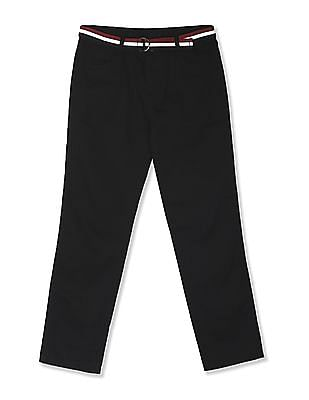 Cherokee Black Boys Flat Front Belted Trousers
