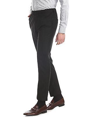 Arrow Black Autoflex Waist Patterned Trousers